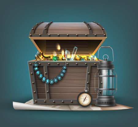 Vector wooden treasure chest with jewelry, coins, gemstones and traveler's attributes isolated on background