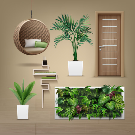 Vector set of interior furniture in eco-minimalism style, isolated on light brown background 向量圖像