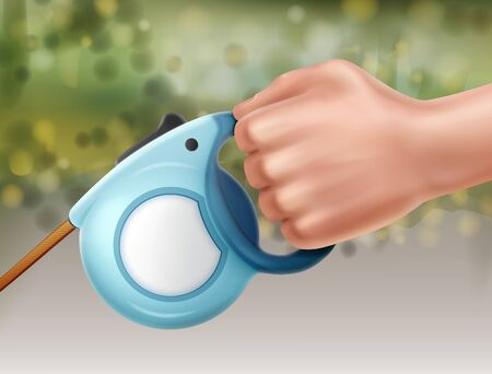 Vector illustration of automatic retractable leash in hand close-up view, isolated on white background