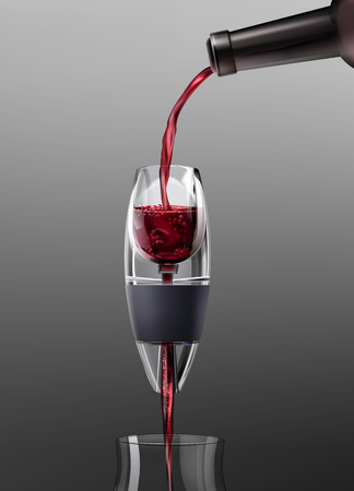Vector illustration of pouring red wine into glass using aerator on gradient gray background