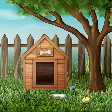 Vector illustration of dog house in environment with tree, fence, toys and bowl Illustration