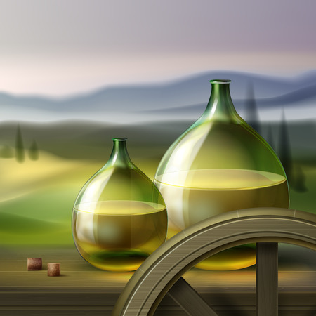 Vector green round bottles of white wine and wooden wheel isolated on background with valley