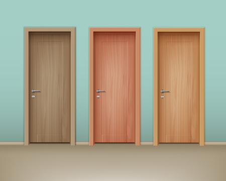 Vector colored wooden doors in eco-minimalism style on wall of mint color