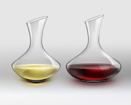 decanter: Vector classical glass decanter with red wine and decanter with white wine, on gray gradient background