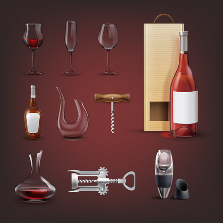 Vector set of equipment for wine with wing corkscrew, aerator, decanters, bottle with packing, glasses for wine and champagne. Isolated on background Illustration