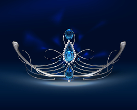 Vector silver diadem with sapphires, pearls and diamonds isolated on blue background Illustration