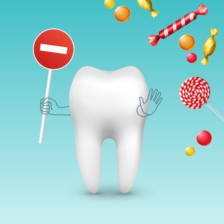 Vector tooth character with stop sign against diffrent sweets, bonbons and lollipops