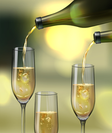 Vector champagne glasses and pouring from a bottles on bokeh background