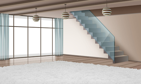 Vector illustration of modern interior with staircase and eco materials in minimalist style