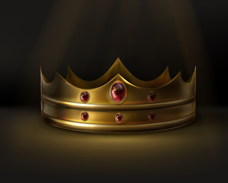 Vector royal golden crown with red gemstone isolated on dark background Illustration
