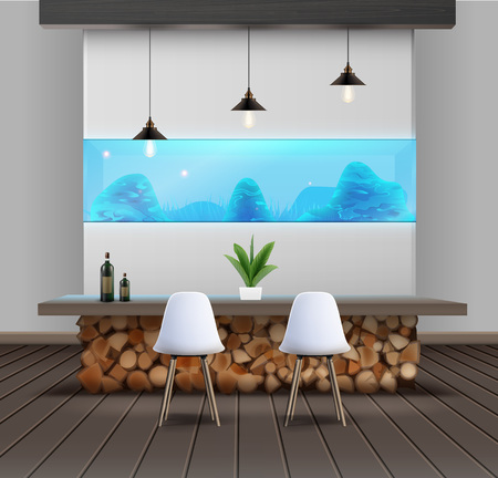 Vector illustration of interior design in eco-minimalist style with wooden table and aquarium Illustration