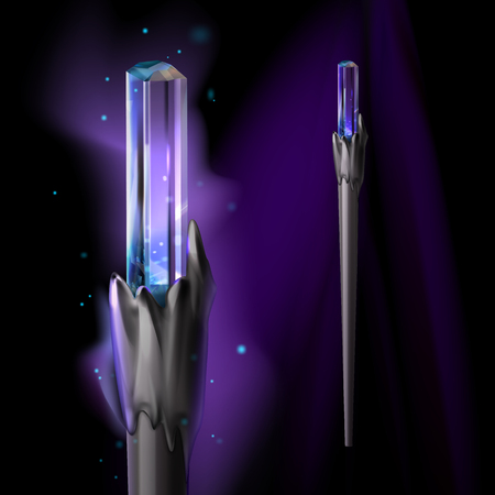 Vector illustration of magic wand with crystal and bright glow isolated on dark background