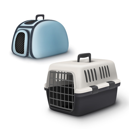gray cat: Two vector pets carrier and bag isolated on white background Illustration