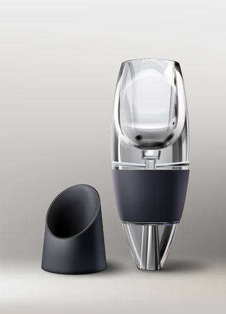Vector wine aerator with black stand isolated on gradient background, front view
