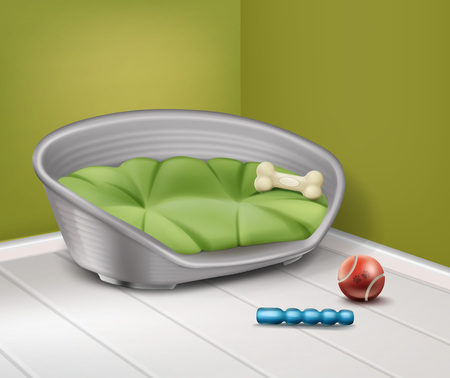 lying in bed: Vector illustration of place for dog with different toys in home isolated on background
