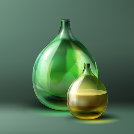 Vector round bottle of green color and vintage style isolated on dark green background Illustration