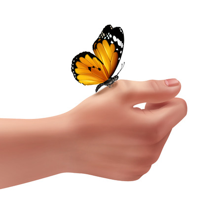 Vector illustration of human right hand with butterfly. Close-up, isolated on white background Illustration