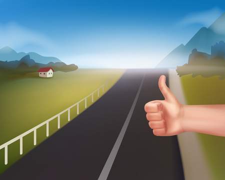 Vector hand of hitchhiking man at rural mountain road. Isolated on white background