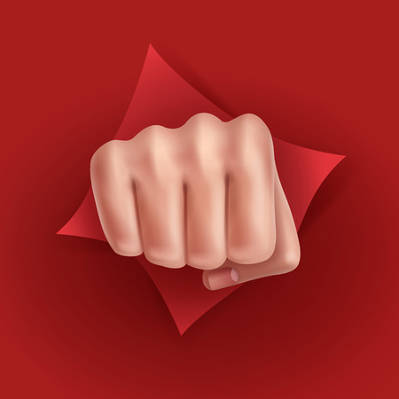 Vector illustration of fist punching through red paper isolated on background Illustration