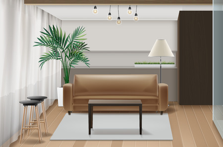 Vector illustration of interior design with furniture in eco-minimalist style