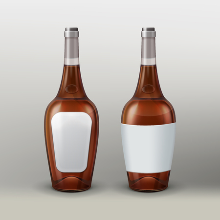 Vector bottles with empty labels, front and back view isolated on gradient background Illustration