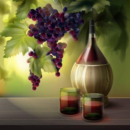 Vector bottle of wine with glassfuls and bunch of red grapes in leaves isolated on background