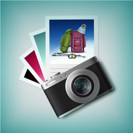 Vector compact photo camera with winter leisure snapshots top view isolated on white background Illustration