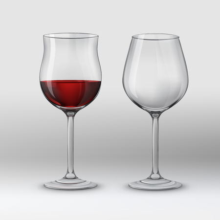 Vector illustration. Two types of wine glasses for red wine. Isolated on gray background Illustration
