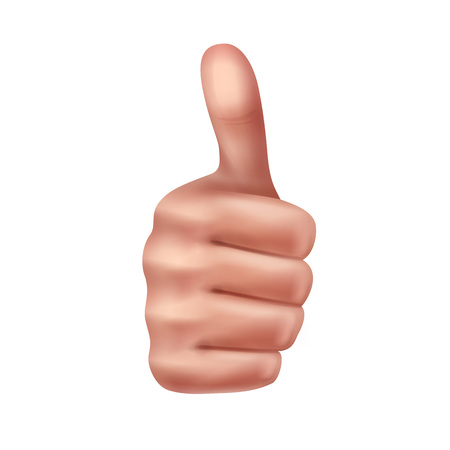 Vector human hand showing gesture of thumbs up, front view, isolated on white background