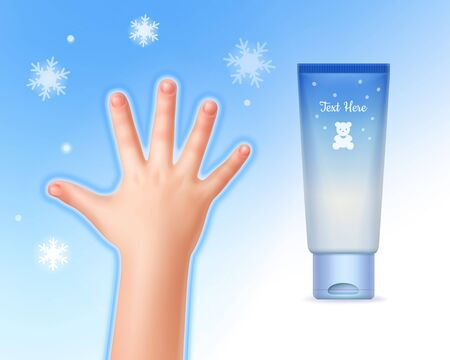Vector illustration of concept protection child hand winter, child handand tube with cream, isolated on background