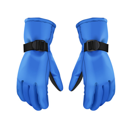 Vector pair of blue warm sport winter gloves isolated on white background