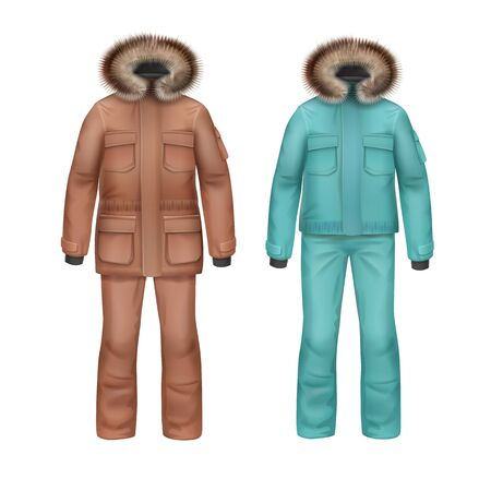 Vector brown and turquoise sport winter coat with fur hood and pants front view isolated on white background Illustration