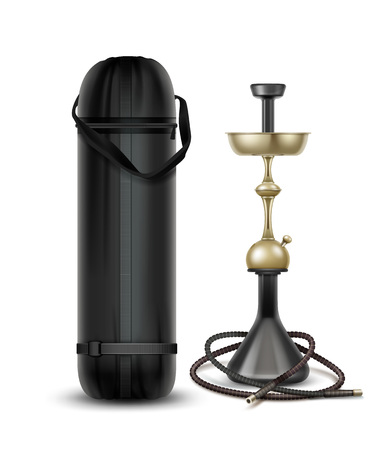 Vector golden nargile for tobacco smoking made of metal with hookah hose and carrying bag isolated on white background