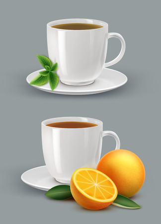 Vector illustration of cup of tea with mint and citrus.