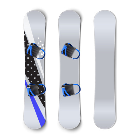 Vector set of snowboards: blank, with patterns and bindings front back view isolated on white background