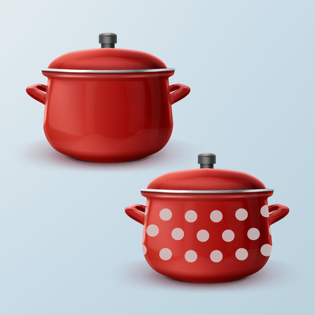 Vector red enamel saucepan with white dot and without.