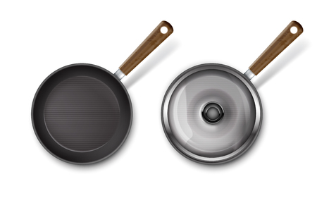 Vector illustration of frying pan with glass lid and without on white background. Ilustrace