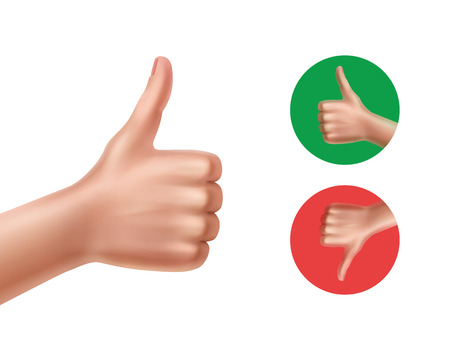 Vector illustration of concept is good and bad with hands showing thumbs up and down isolated on white background