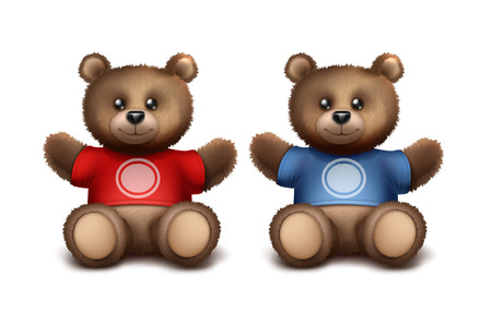 Vector gift bears for fans or young sporting players. Template for sport brand. Isolated on white background