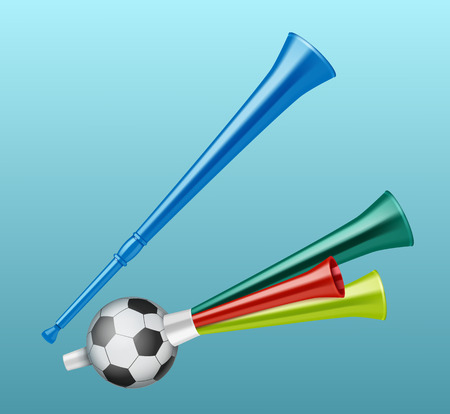 Trumpets football fan different types isolated on blue background