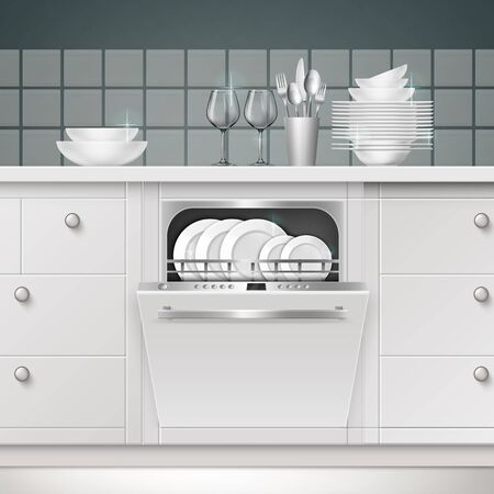Illustration of build-in dishwasher with opened door and clean utensils in a kitchen