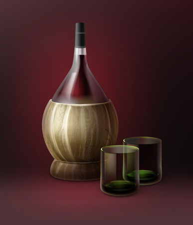 Vector fiasco bottles of wine and two glassfuls isolated on dark red background Иллюстрация