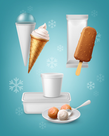 Set of packing for various types of ice cream isolated on blue background. Illustration