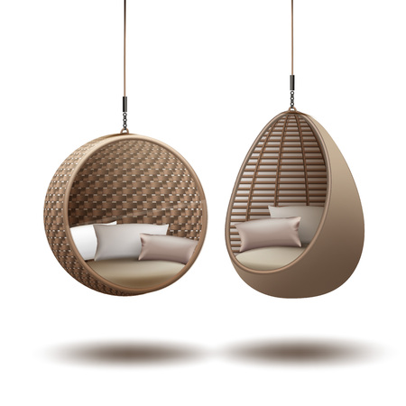 Wicker hanging chairs swing hanging on a chain with cushions on white background