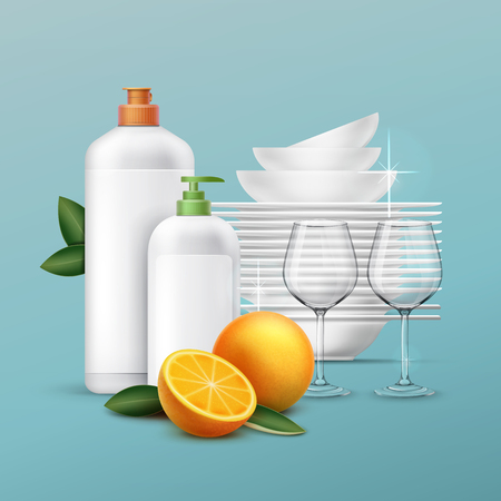 dishwashing liquid: Vector set of clean dishes and glassware with dishwashing liquid of oranger scent on the blue background Illustration