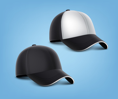 Vector realistic illustration of black caps with white details isolated on blue background. Ilustracja