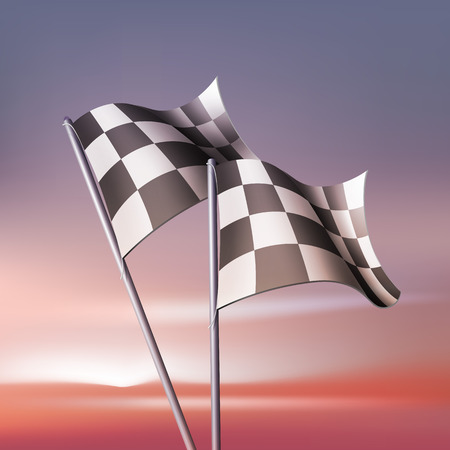 Checkered vector flags for fan and competitions. Isolated on landscape background. Illustration