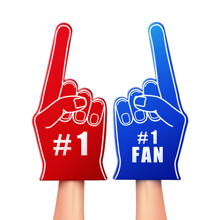 Vector illustration of fan foam gloves in red and blue color isolated on white background Stock Illustratie