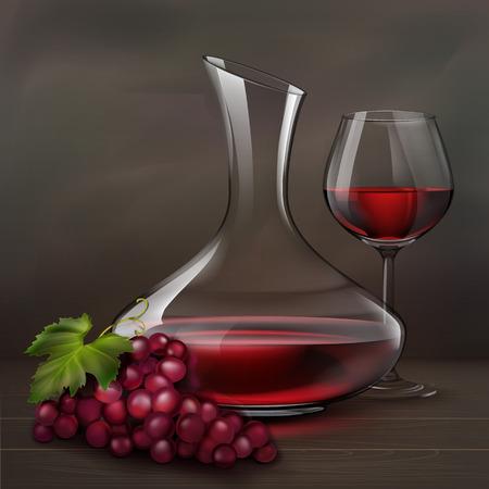 Ilustracji wektorowych. Szkło czerwone wino obok karafki i wiązka winogrona na drewno stole