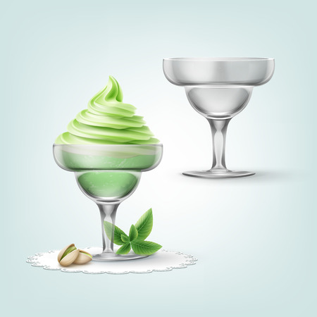 Vector illustration of soft pistachio ice cream with nuts in cup and empty cup isolated on background